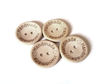 4 Natural unfinished wood button with handmade logo engraved (BB118CC)
