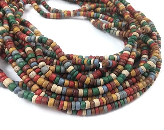 150 coconut beads mixed earth colors 4-5mm
