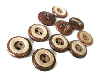 10 Brown Coconut Shell Buttons 13 or 15mm - Rustic Circle  (BC608)