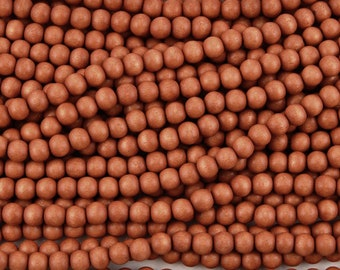 6mm or 8mm Wood round beads - Tangerine