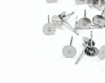 Stainless steel earring post hypoallergenic 12mm x 6mm stud earrings