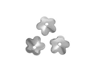 50 Flower bead caps hypoallergenic stainless steel 6mm beadcaps