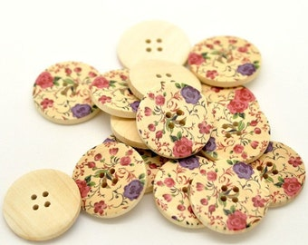 Cottage Flower Pattern Wooden Sewing Buttons 30mm - set of 6 natural wood button (BB105C)