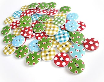 50 Mixed Patterns and Colors Buttons - Wood sewing buttons 15mm - Dots and plaids (BB111)