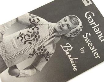 One dollar SALE Vintage Beehive no 46 Garland Sweater Knitting Pattern Zip Front Jacket Sizes 8-10-12