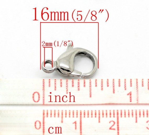 "5//8/""x 3//8/"" Wholesale Lots Silver Tone Stainless Steel Lobster Clasps 16mmx10mm"