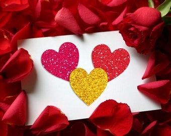 Glitter Hearts Digital Collage Sheet 2 inch