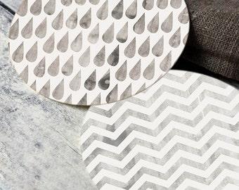 Printable round tags or cupcake toppers  - Pewter Cloud, Rain, Chevron, Digital Circle Collage Sheet