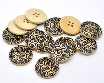 Swirl Pattern Wooden Sewing Buttons 30mm - Natural and Black wood button set of 6  (BB105H)