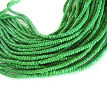 Coconut bead 120 lime green wood Beads - Coconut Rondelle Disk Beads 4-5mm