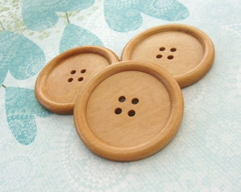 """Natural large wood button - 3 wooden buttons 50mm (2"""")"""