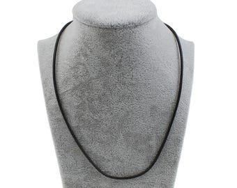 One dollar SALE 5pcs Black Waxed Linen Cord Necklace 2mm, lobster clasp with 5cm extender chain