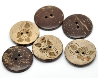6 Brown Leaf pattern Coconut Shell Buttons 28mm - Natural and Eco Friendly round sewing button