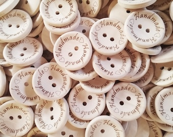4 Natural unfinished wood button with handmade logo engraved