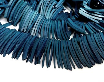 Dark Blue Wood Stick Beads - coconut indian stick 1.5 inch - 25pcs