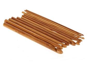 Crochet needles Set of 12 Sizes Bamboo Crochet Hooks 15cm (6 inches)