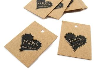 Product tags - Handmade & heart printed mini kraft gift tag - Set of 10
