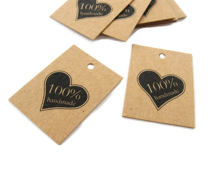 Featured listing image: Product tags - Handmade & heart printed mini kraft gift tag - Set of 10