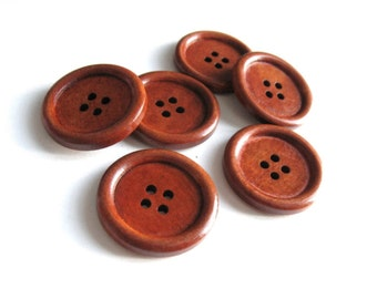 Maroon brown Wooden Sewing Buttons 30mm - set of 6 natural wood button