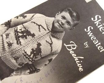 One dollar SALE Vintage Beehive no 47 Skier Sweater Knitting Pattern Zip Front Jacket Sizes 8-10-12