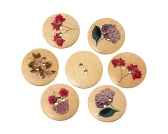 Flower wood sewing buttons - 6 Mixed Patterns craft buttons