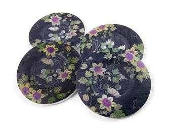 2 inch big buttons - Black and purple flowers wooden sewing buttons