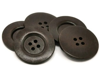 """Extra large big button - 2 dark brown giant wooden buttons 60mm (2 3/8"""")"""