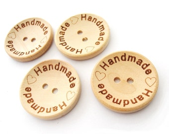 Natural unfinished wood button with handmade logo engraved