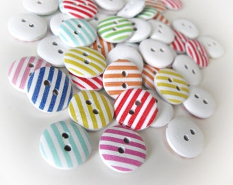 Stripes buttons - Wood sewing buttons 15mm -  25 mixed colors