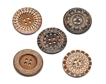"""Extra large button - 5 wooden button 60mm (2 3/8"""") - mixed patterns"""