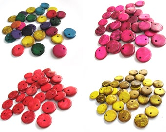 30 Coconut Beads Shell, flat round boho charms or pendants mixed colors 15mm