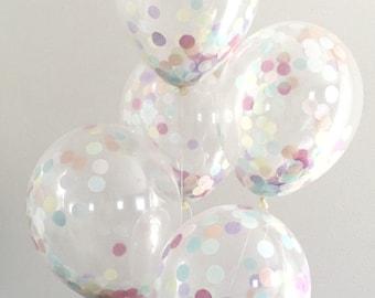 Confetti Balloon / 1 single pre filled clear confetti party balloon / dessert bar candy buffet / birthday balloon / pastel rainbow decor