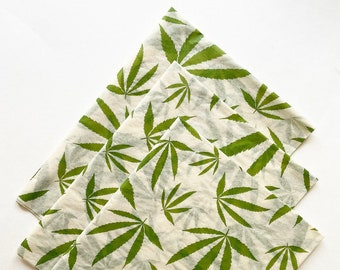CANNABIS LEAVES tissue paper sheets gift present wrapping craft supply retail store packaging green leaf botanical marijuana weed pot smoker