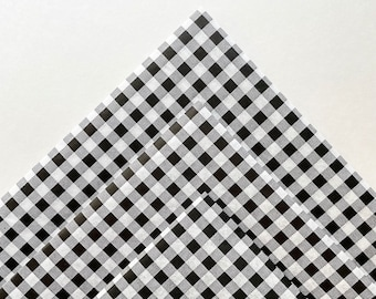 BLACK & WHITE GINGHAM tissue paper sheets gift present wrapping craft supply retail store packaging diy birthday simple pattern guy birthday