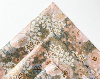COTTAGE BLOOMS tissue paper sheets / gift present wrapping craft supply retail store packaging diy leaves blush pink flowers rifle paper
