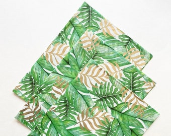 FANCY PLANTS tissue paper sheets gift present wrapping craft supply retail store packaging plants plant mama daddy green jungle green gold