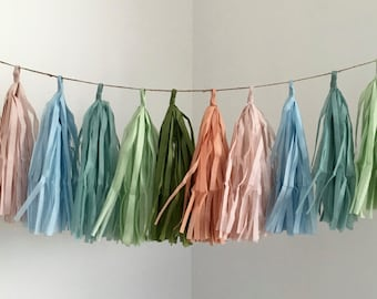 SALE / MEADOW paper tassel garland  where the wild things are first birthday party decorations  neutral pastel soft nursery decor blue pink