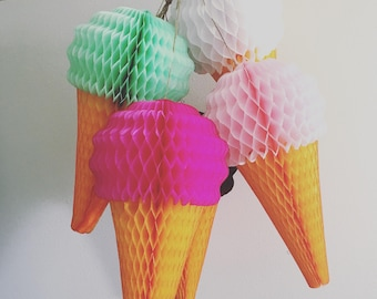 Ice Cream Cone Decorations first birthday party pastel dessert summer baby bridal shower honeycomb reusable classroom office