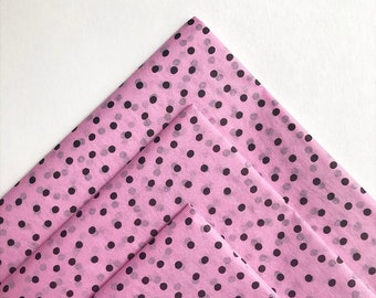 RASPBERRY DOTS tissue paper sheets / gift present wrapping craft supply retail store packaging pink Valentine's Day birthday polkadots girly