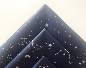 CONSTELLATION tissue paper sheets gift present wrapping craft supply retail packaging navy blue zodiac stars galaxy sky astronomy astrology
