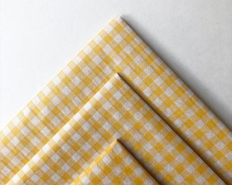 MARIGOLD GINGHAM tissue paper sheets /gift present wrapping craft supply retail store packaging diy birthday yellow twin neutral baby shower