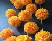 MARIGOLD flower pompom garland gold yellow orange dia de los muertos rustic fall theme wedding engagement birthday baby shower decoration