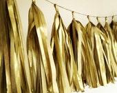 GOLD METALLIC tissue paper tassel fringe garland golden wedding decorations new years eve nye metallic theme cake dessert table runner Eid