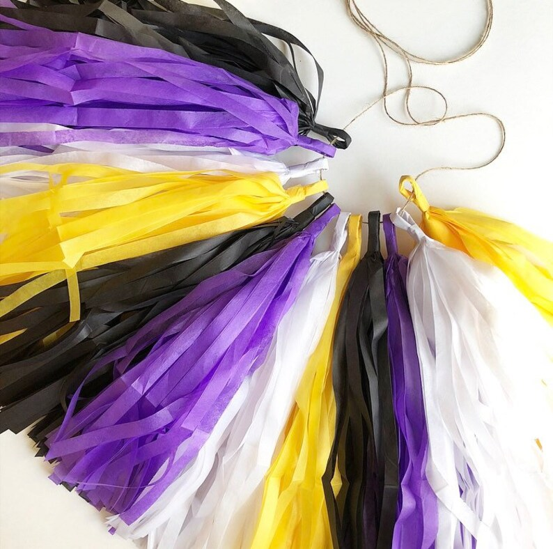 NON BINARY PRIDE tassel garland purple yellow black white flag image 0