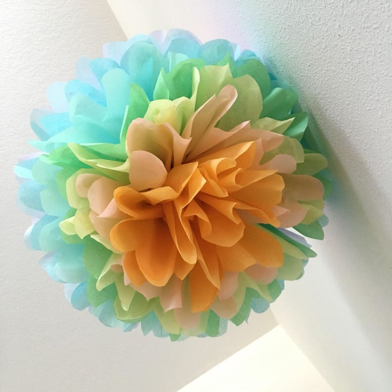 d4acbf8a947f0 PASTEL RAINBOW tissue paper pompom unicorn party decorations girl first  birthday photo prop baby bridal shower blush pink peach mint twin