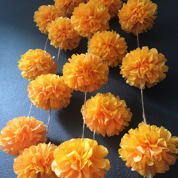 MARIGOLD flower pompom garland gold yellow orange dia de los | Etsy