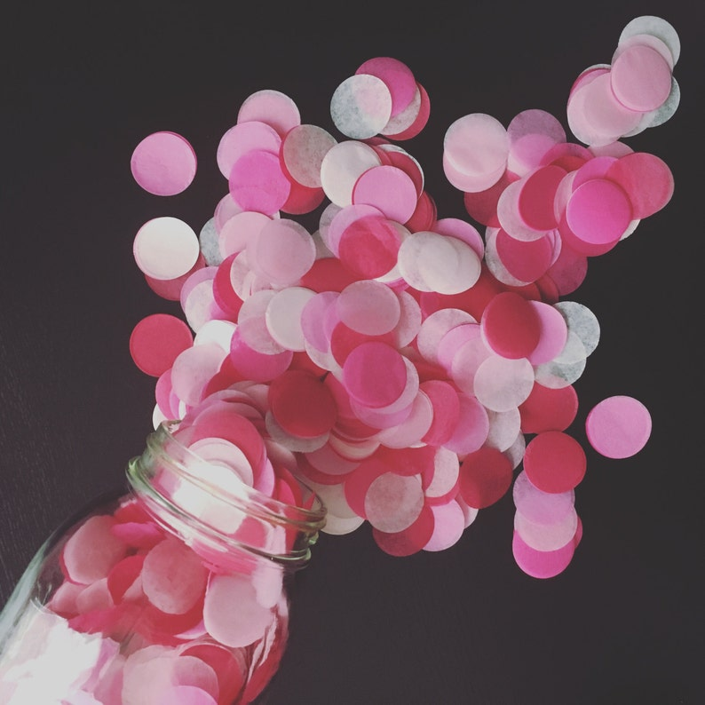 MIXED PINKS tissue paper confetti circles wedding exit send off toss engagement photo prop flower girl petals cake dessert table decoration