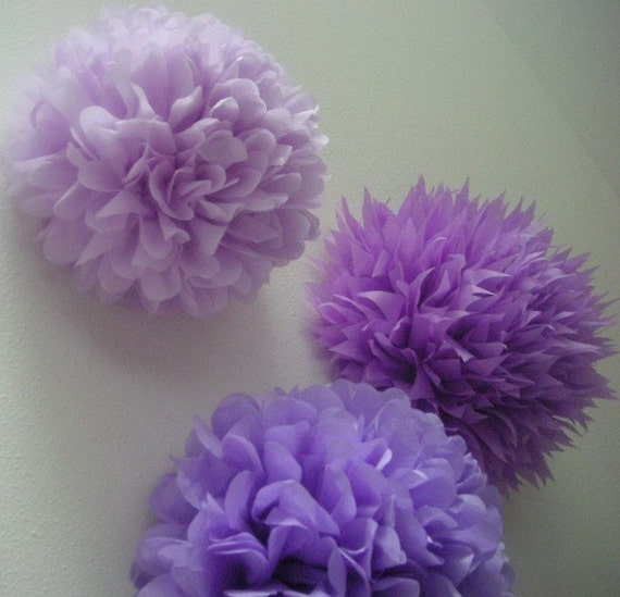 GRAPE tissue paper pompom  sofia the first party decorations  purple girl birthday party pom decor  spa dessert candy bar doc mcstuffins