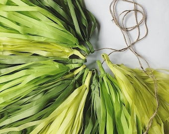 GREENERY tassel garland luau boy first birthday party photo prop backdrop chartreuse olive green high chair plant ombre baby bridal shower