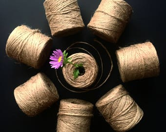 CRAFT JUTE TWINE / 200 feet / gift wrapping / craft supply / party decoration / all natural jute twine / retail packaging / garland twine